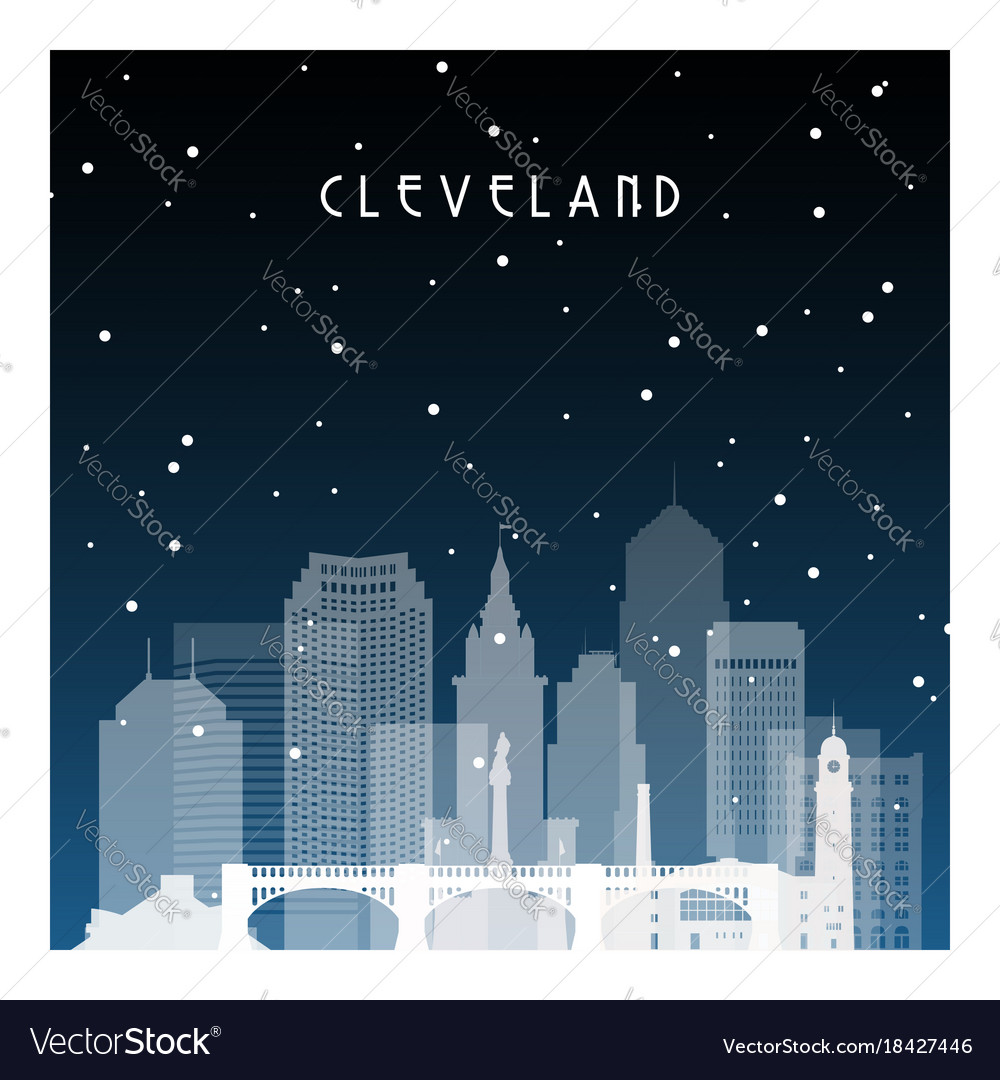 Winter night in cleveland night city in flat