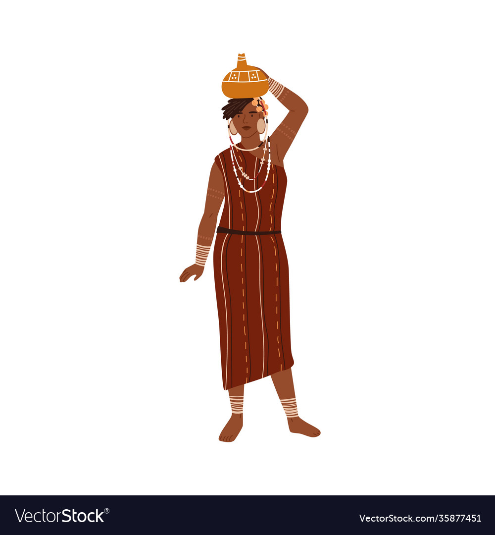 African tribal woman carrying vase or pitcher