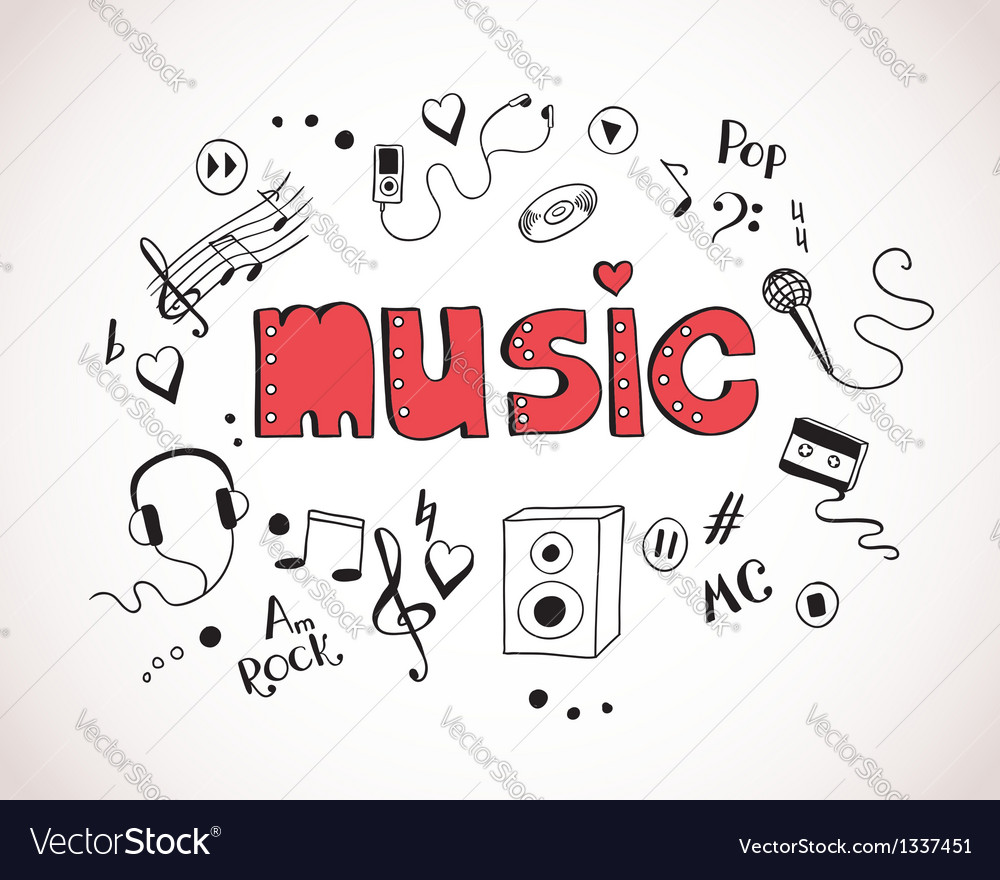 Background with music elements vector image