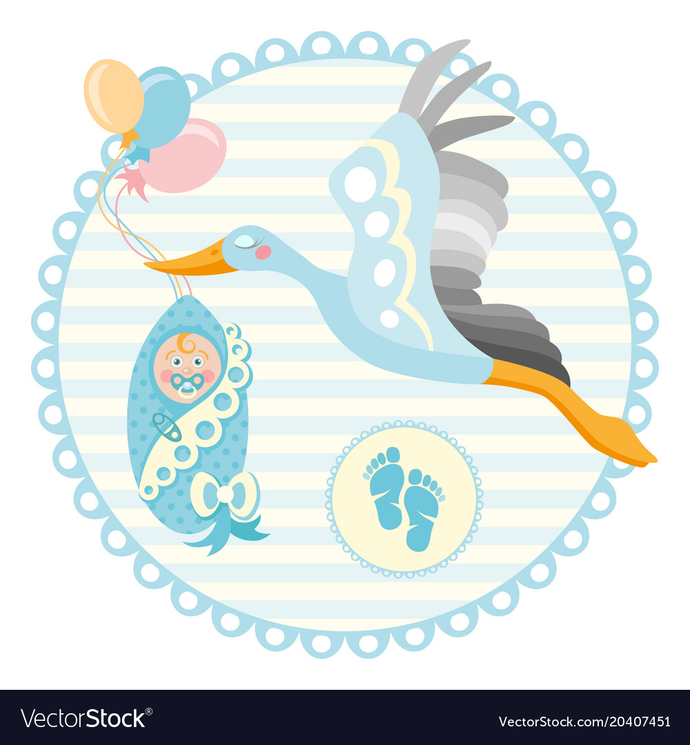 Cartoon stork with baby design template for