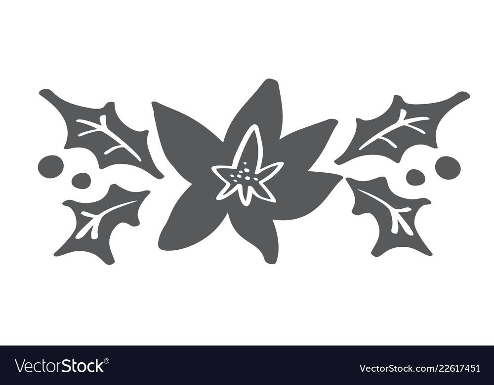 Christmas decorative branch elements design floral