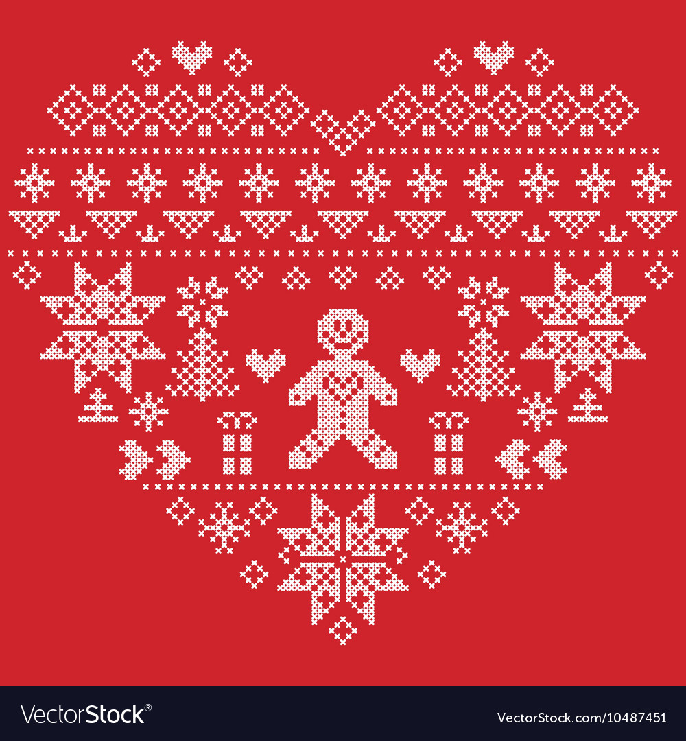 Christmas heart shape with gingerbread man on red