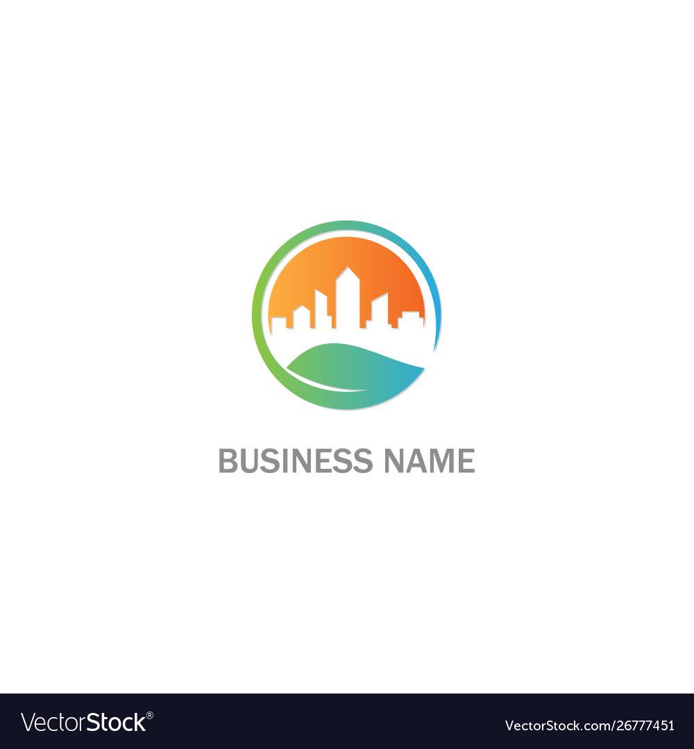Eco cityscape building environment logo