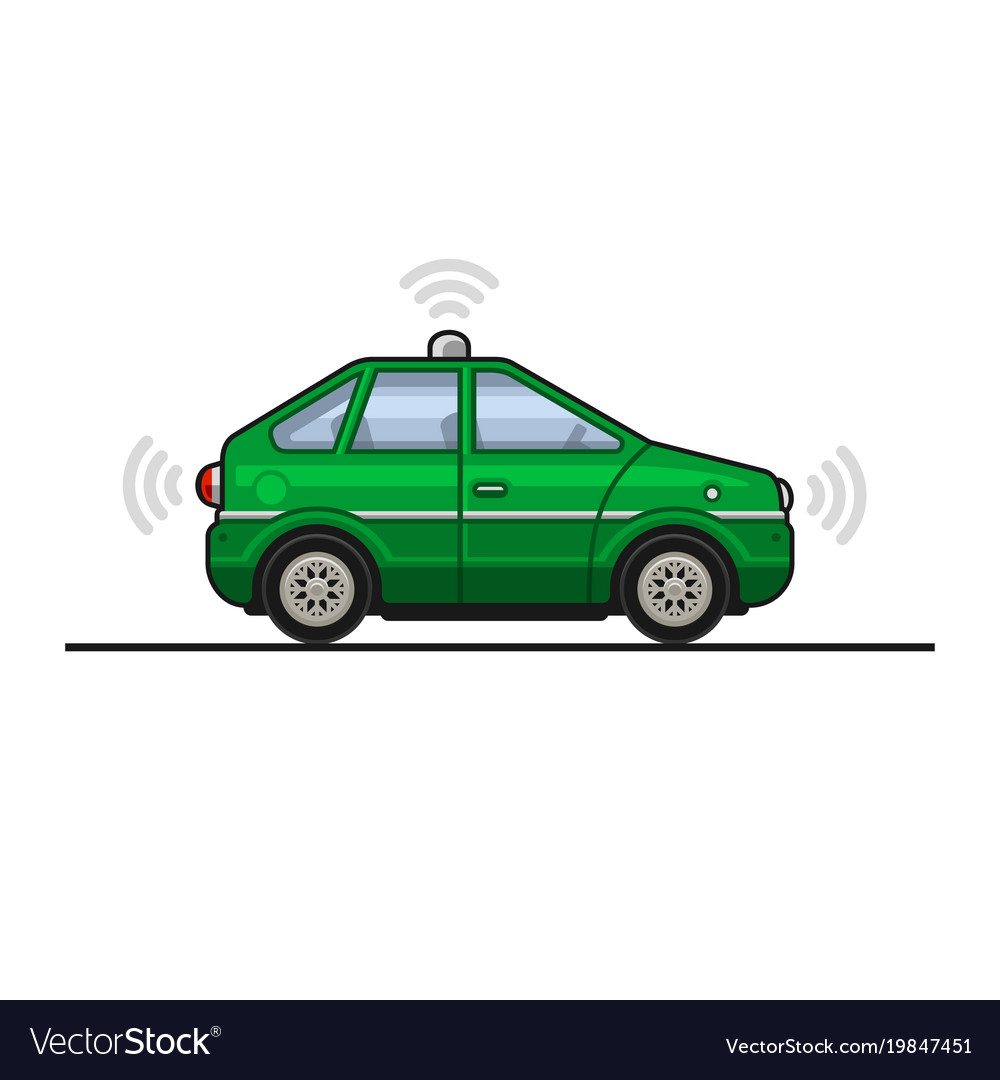 Green smart car icon with sensors and radar
