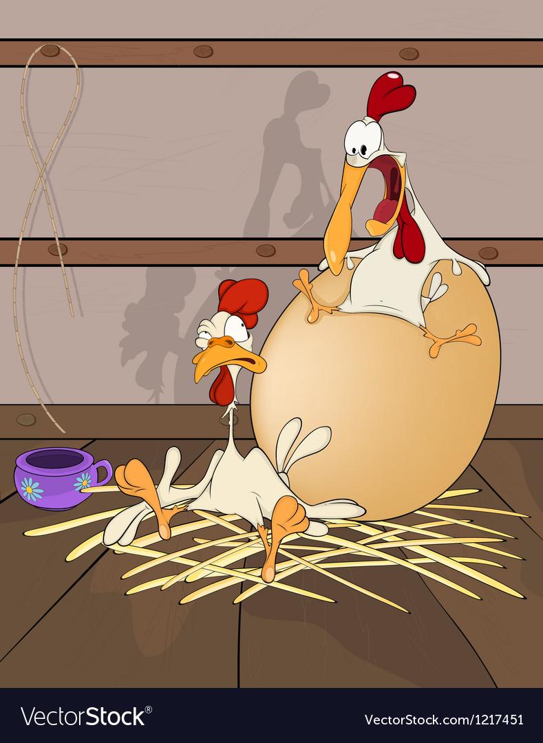 Hen and Cock the big egg Cartoon vector image