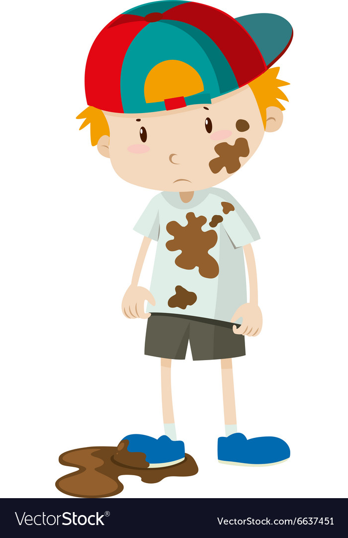 Little boy wearing dirty clothes vector image