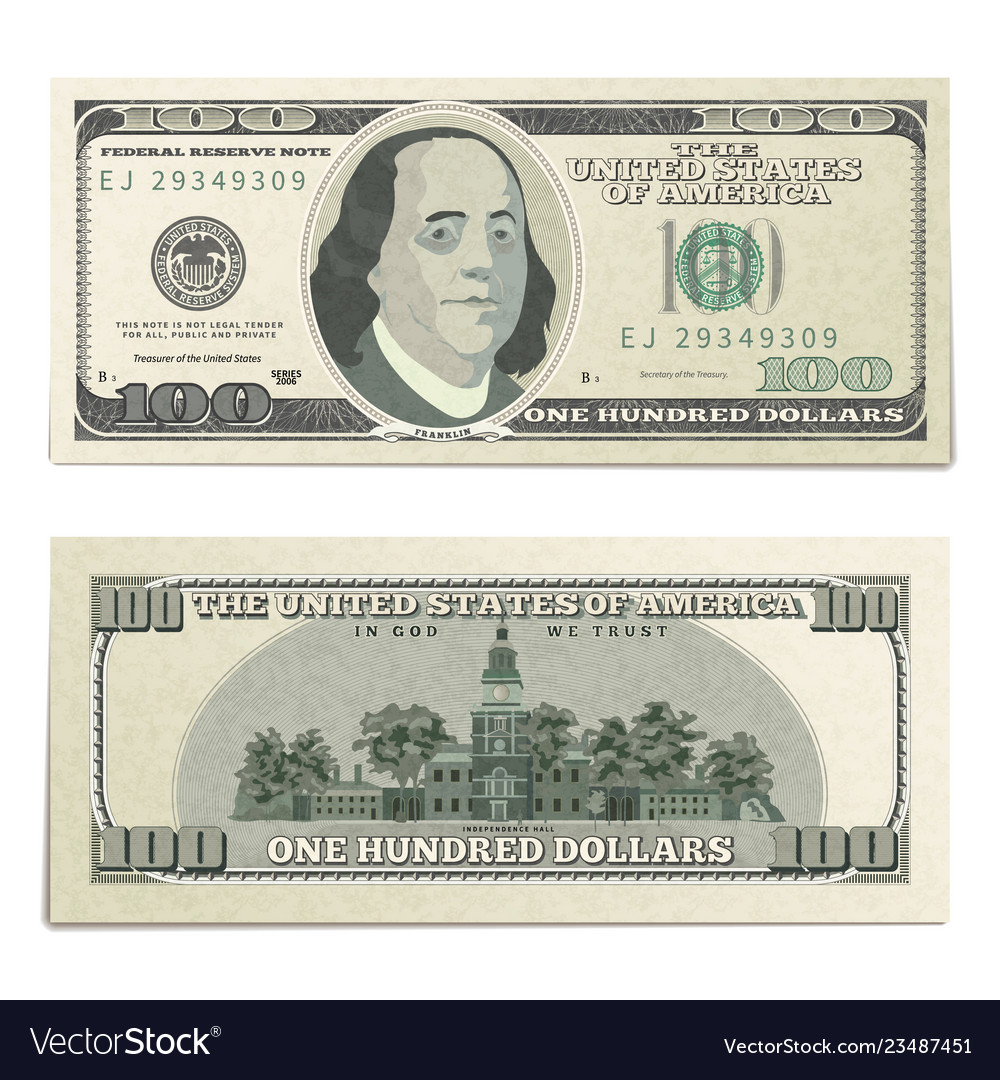 Realistic dummy one hundred usa dollars banknote