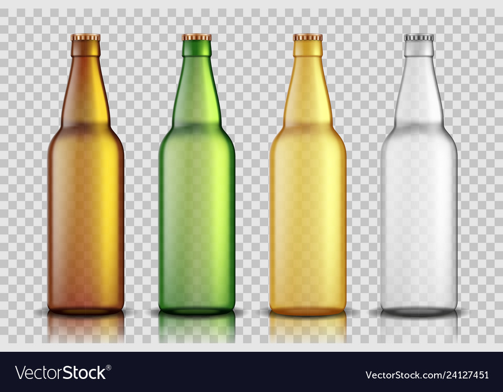 Set of realistic glass beer bottles isolated on