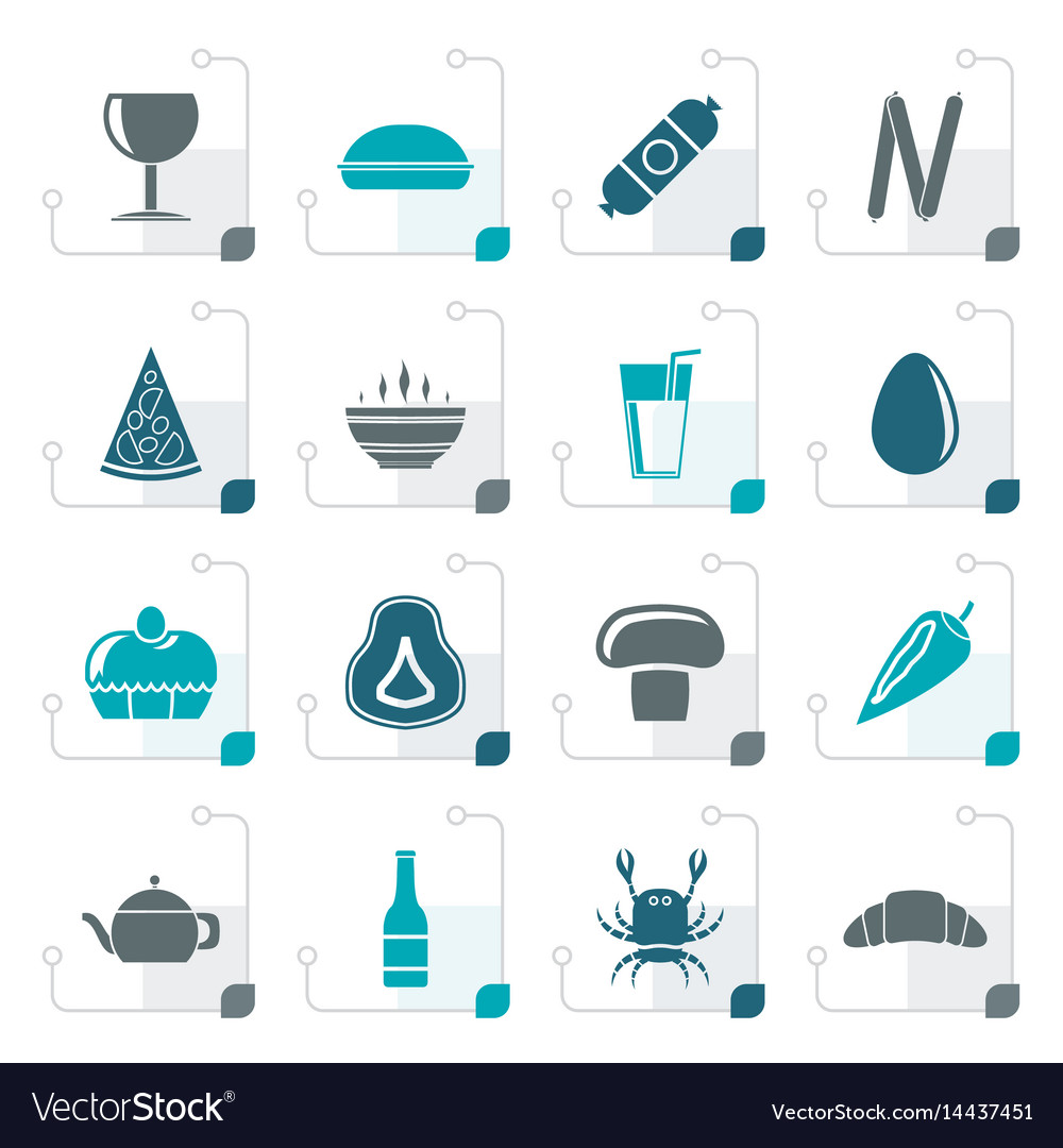 Stylized shop food and drink icons