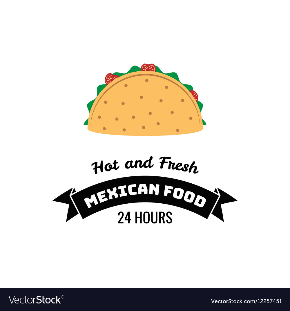 Taco Traditional mexican food Label template or Vector Image