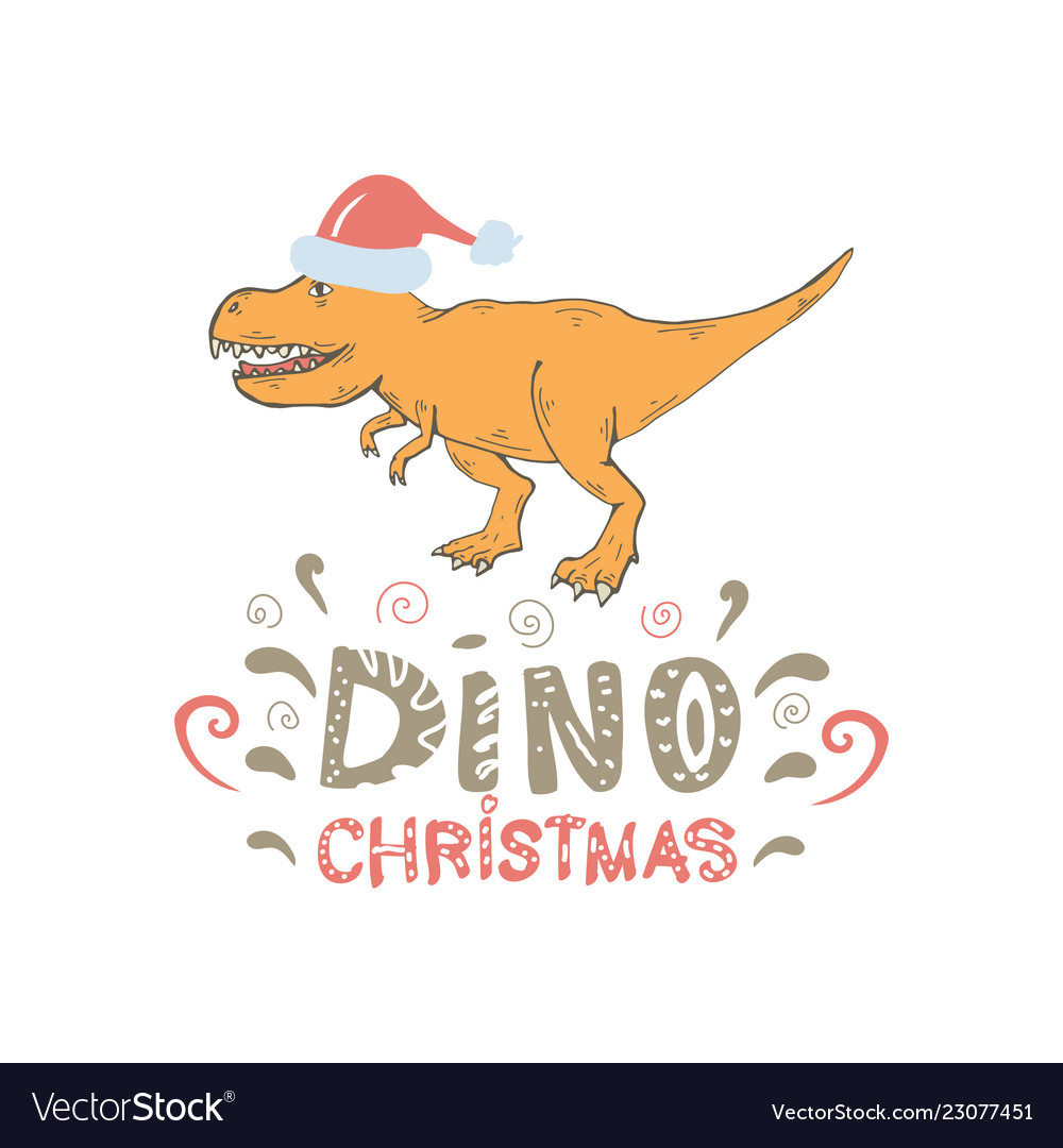 Tyrannosaurus with santa hat isolated