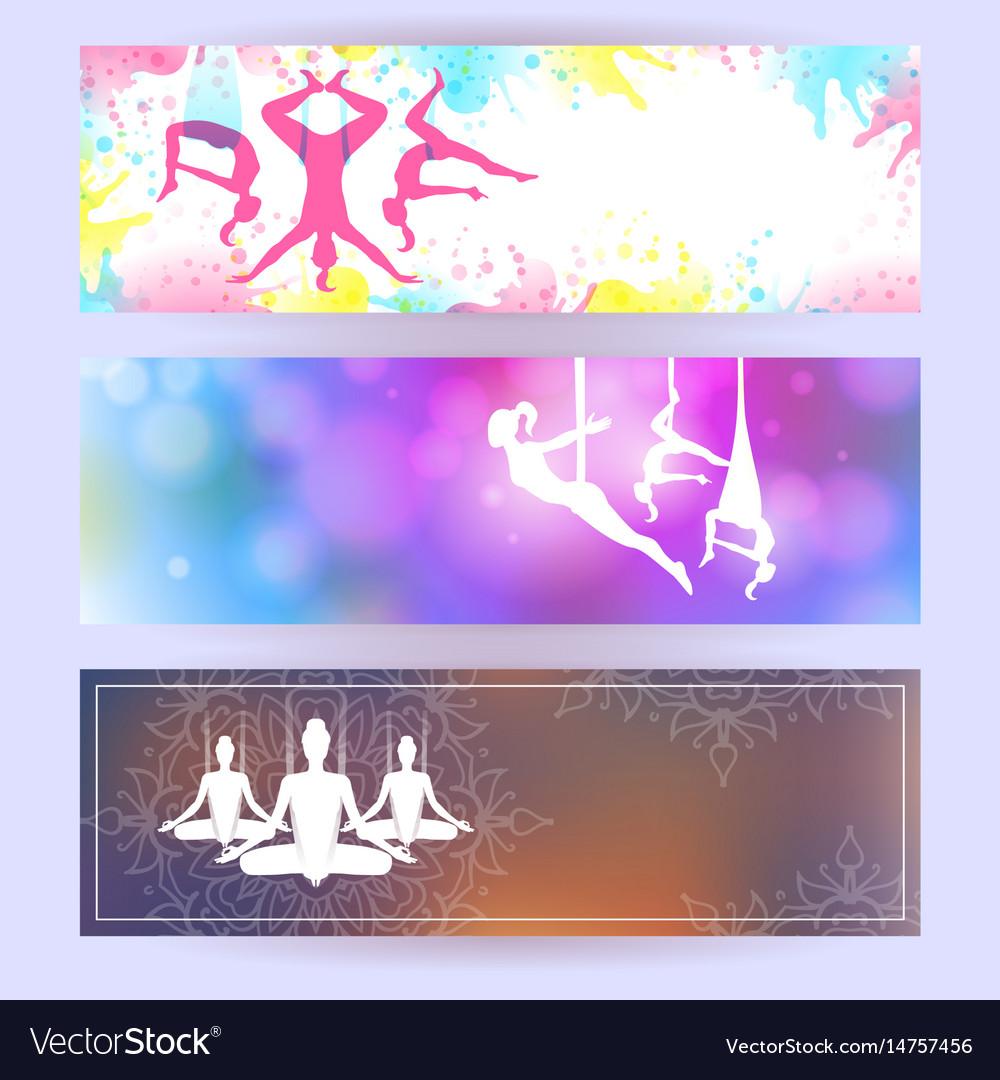 Aero Yoga Horizontal Banners Royalty Free Vector Image