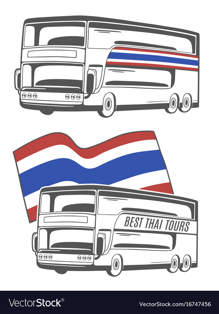 Bus with thailand flag vector image