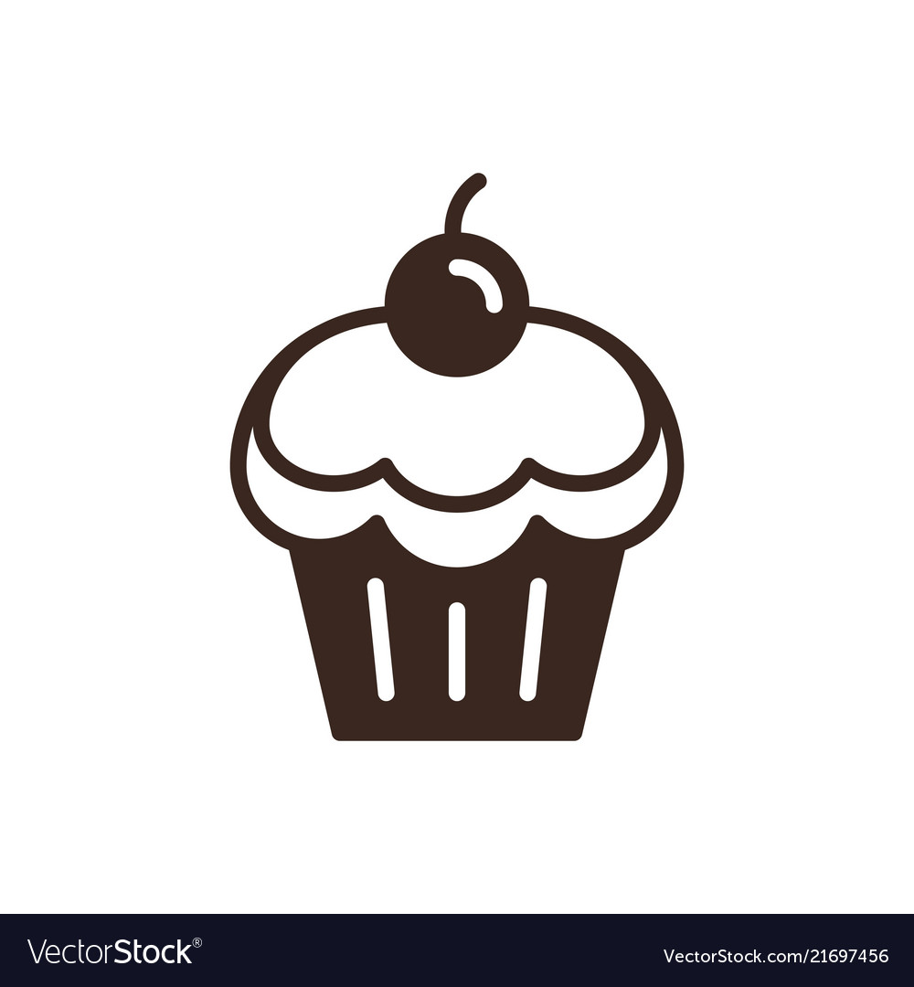 Cherry cupcake linear style icon