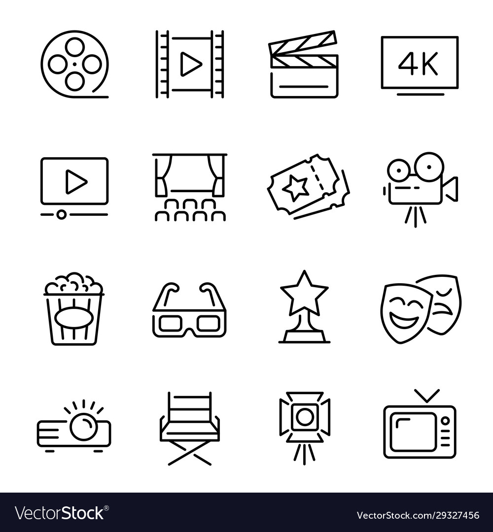Cinema line icons set monochrome