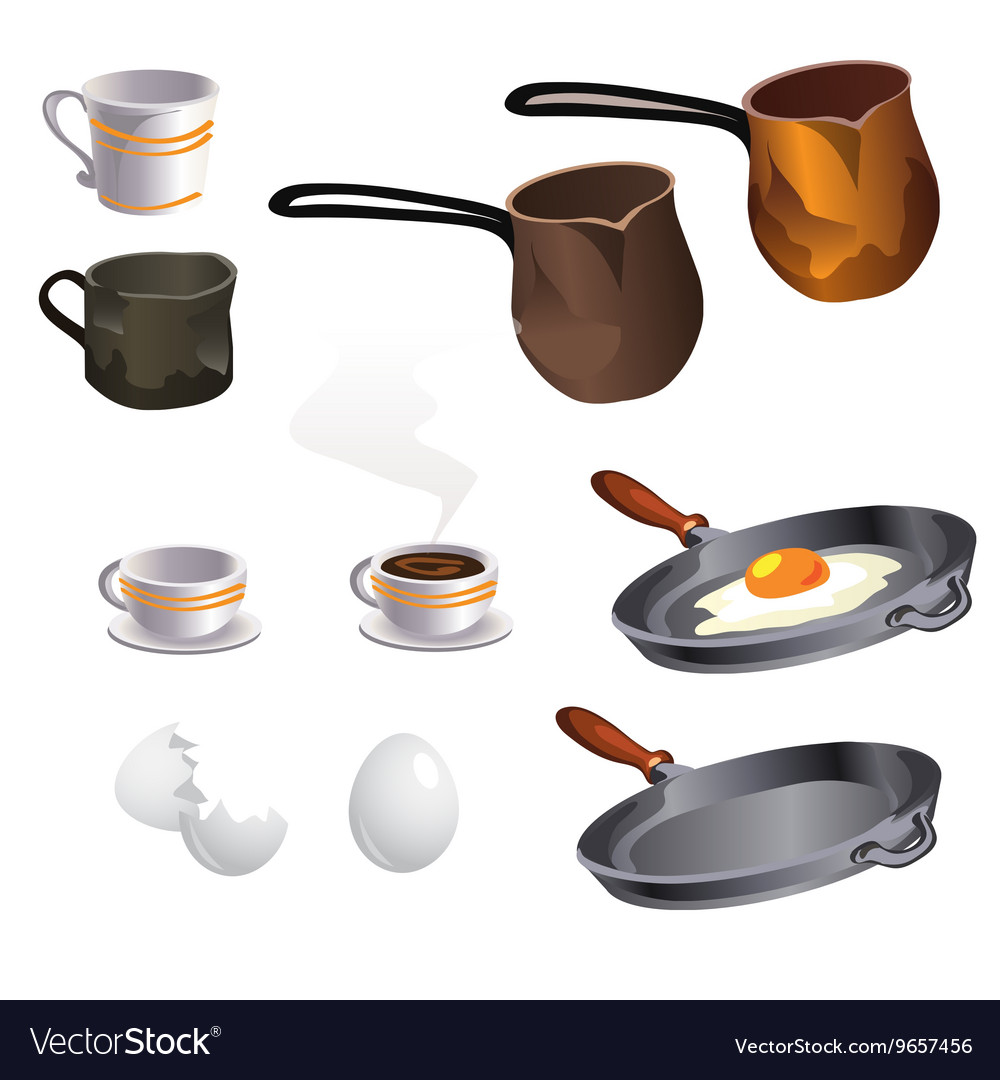 Cooking eggs and coffee big set items