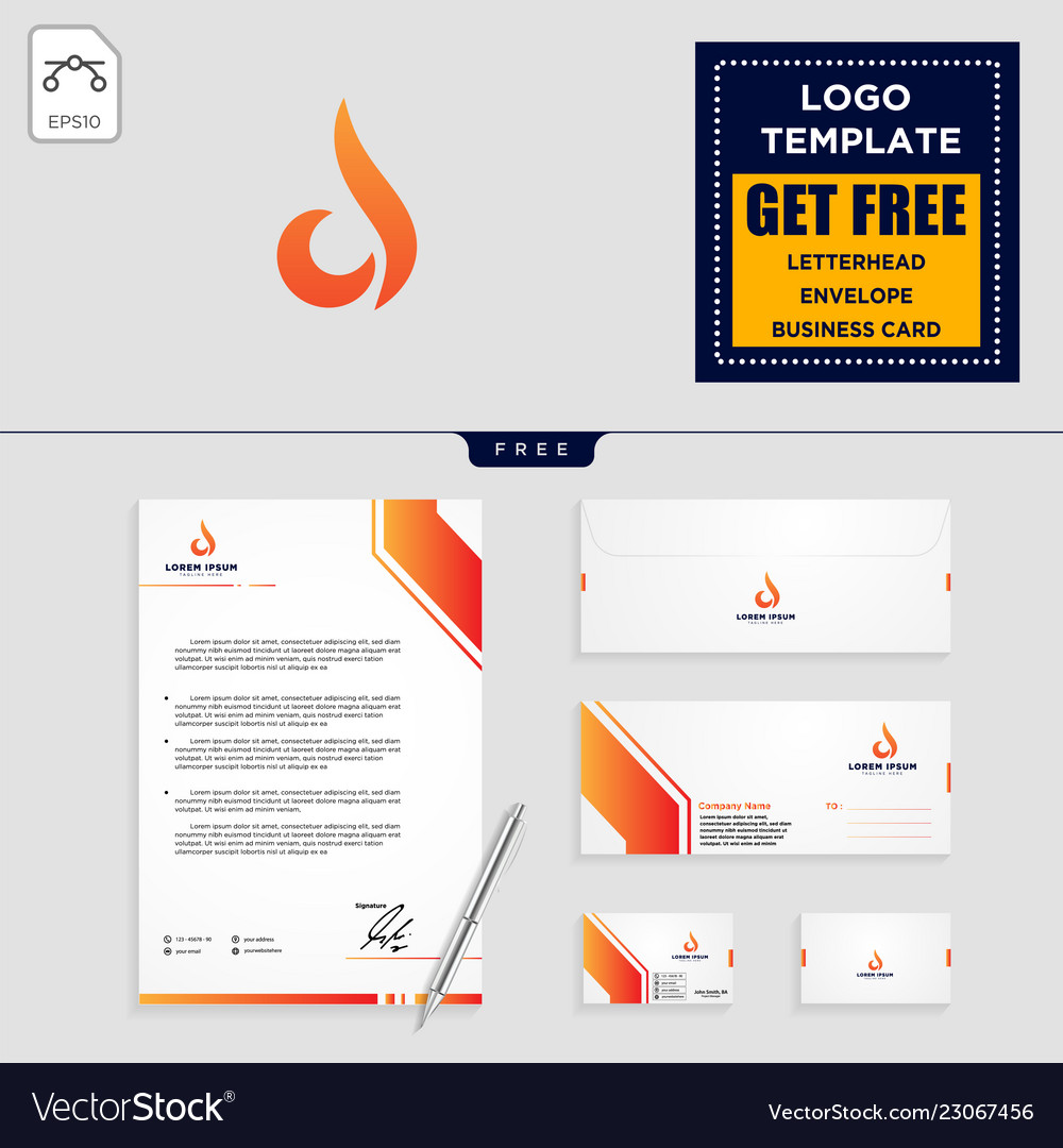 Flame logo template and stationery design