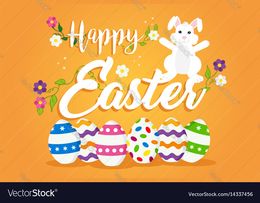Happy easter card design for spring holiday vector image
