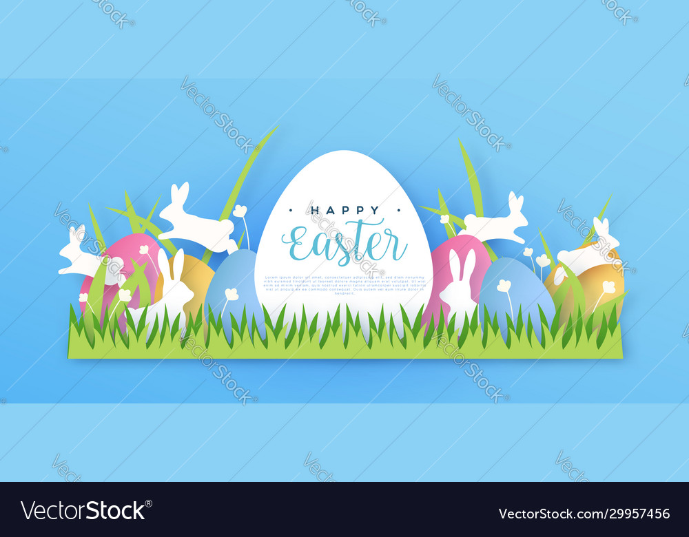 Happy easter papercut spring rabbit web template