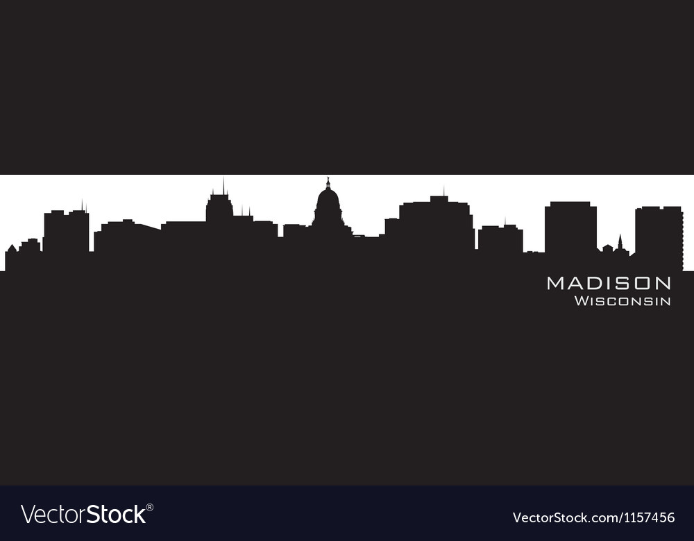 madison wisconsin skyline detailed city silhouette