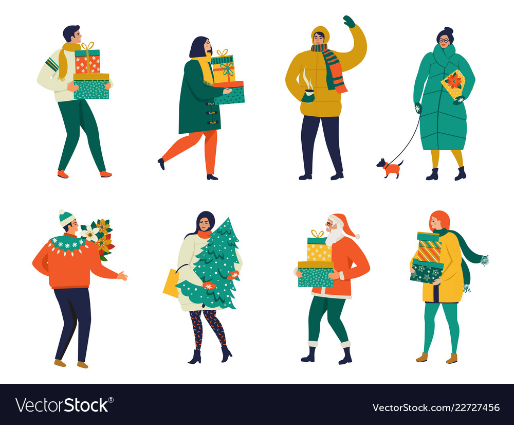 Merry christmas greeting card with people walking