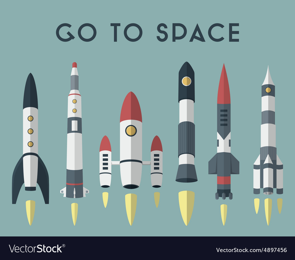 Rockets going to space flat design colored