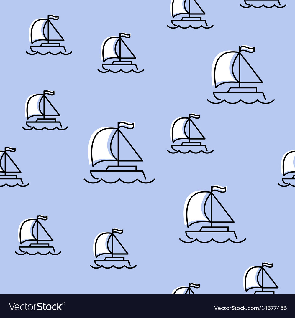 Seamless pattern with yacht vector image
