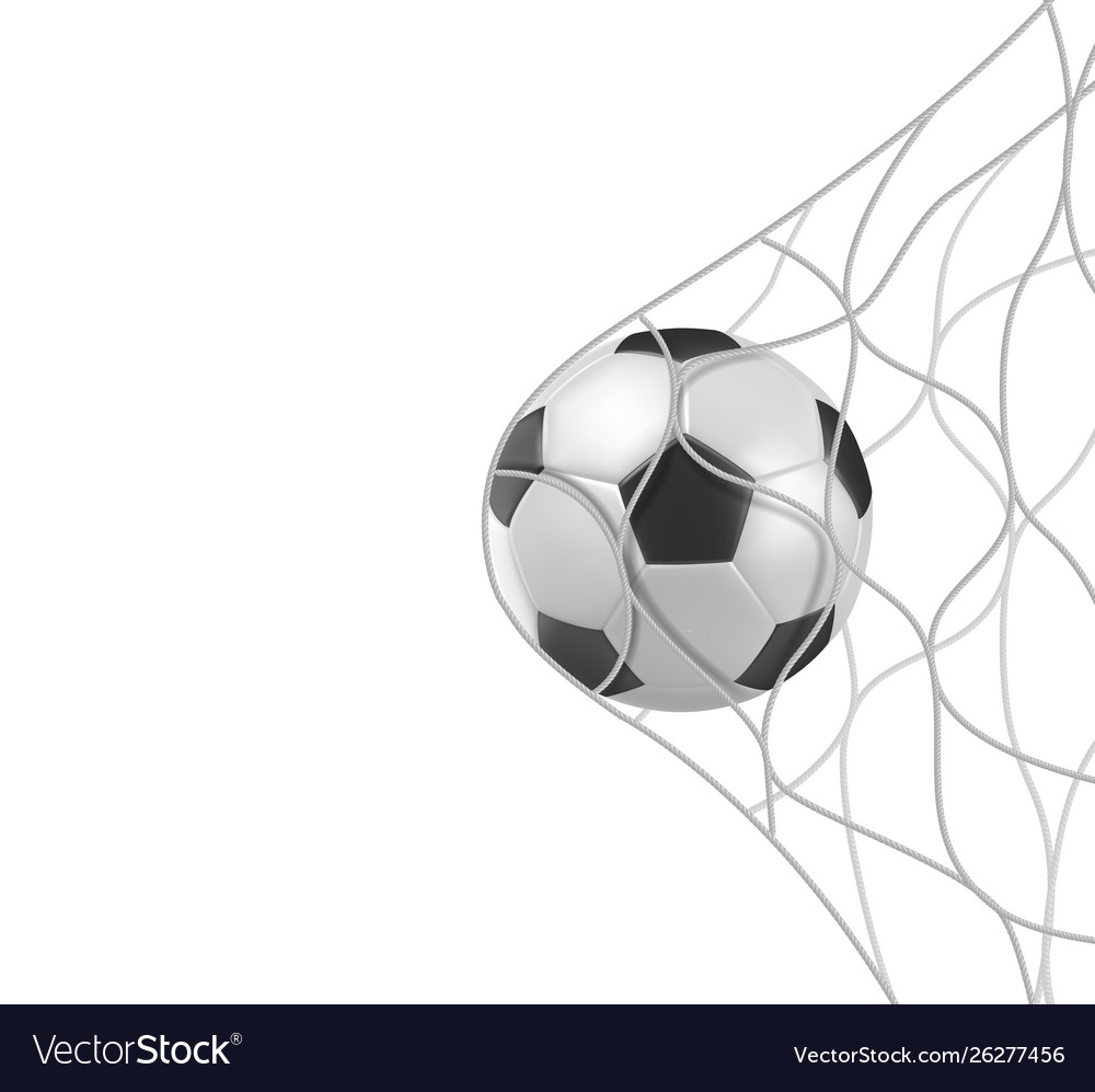 Soccer football ball in goal net isolated on white