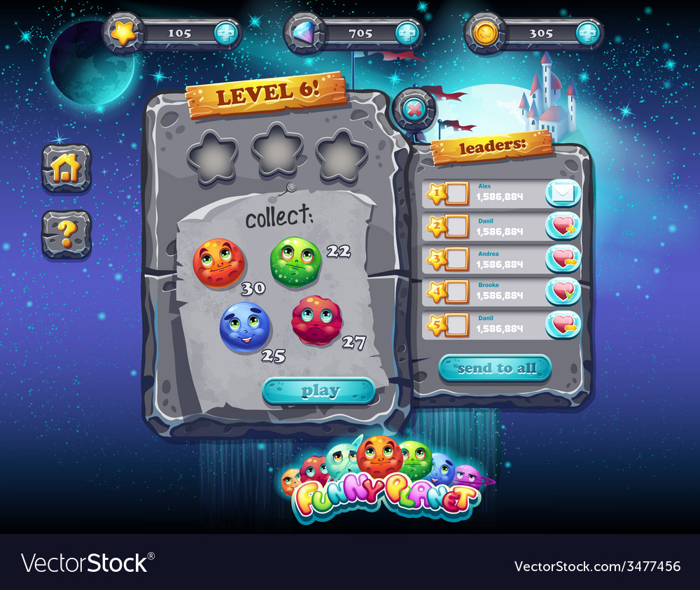User interface for computer games and web design