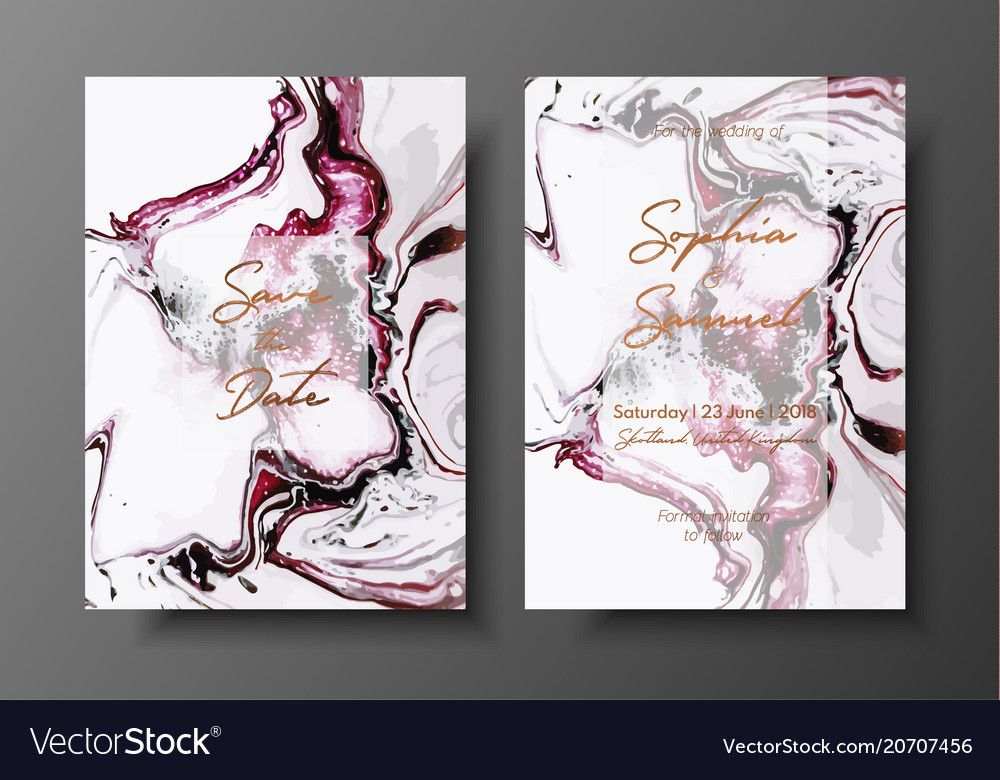 Wedding template with liquid marble texture