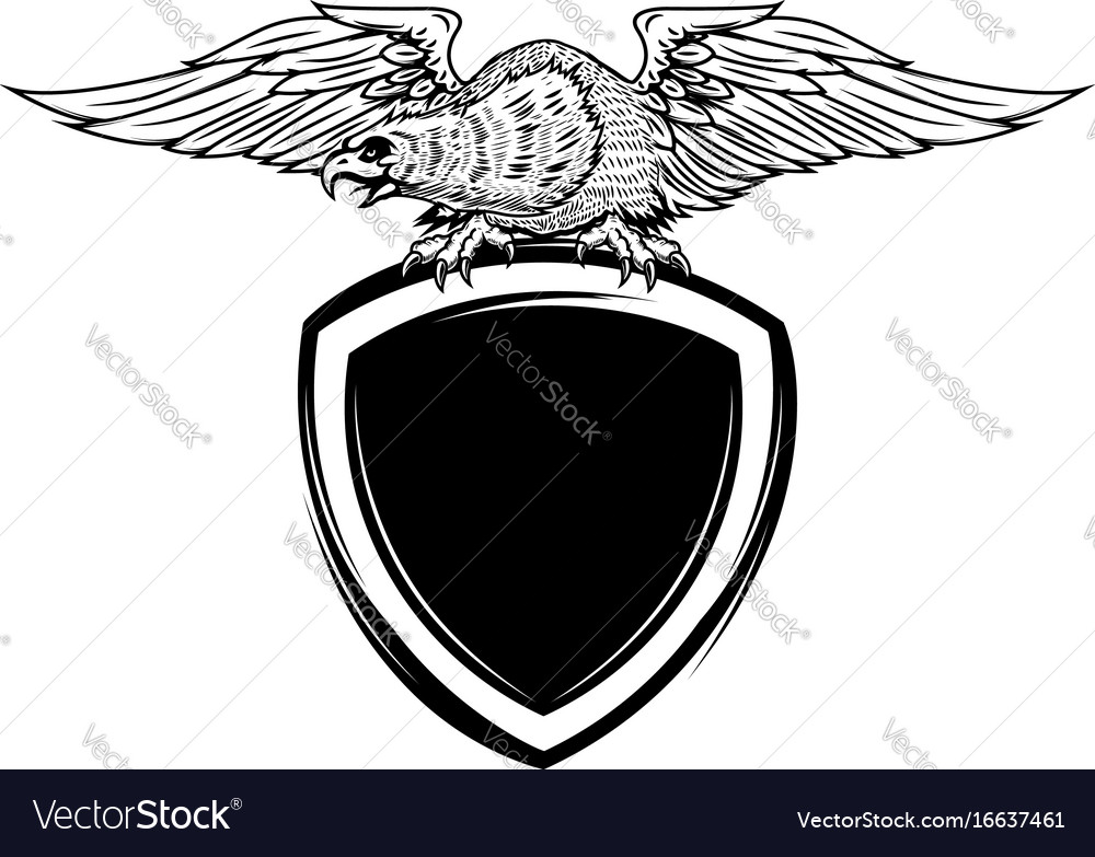 Blank emblem template with eagle bird Royalty Free Vector