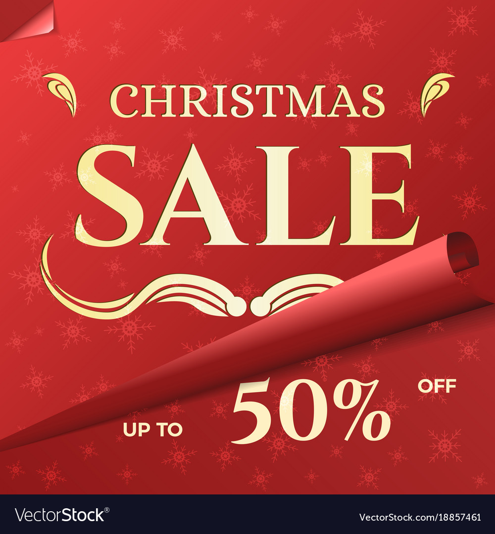 Christmas sale banner template with swirled red