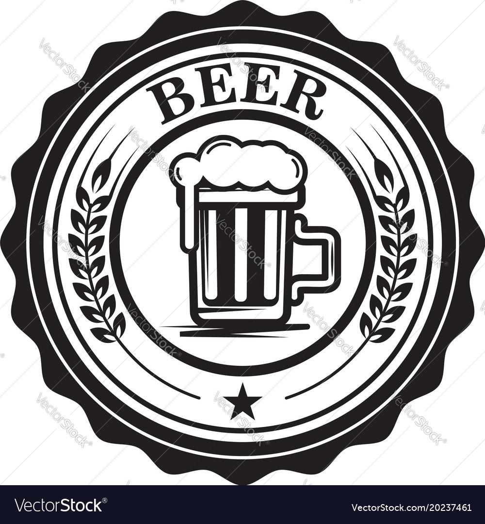 Emblem With Beer Mug Design Element For Logo Vector Image