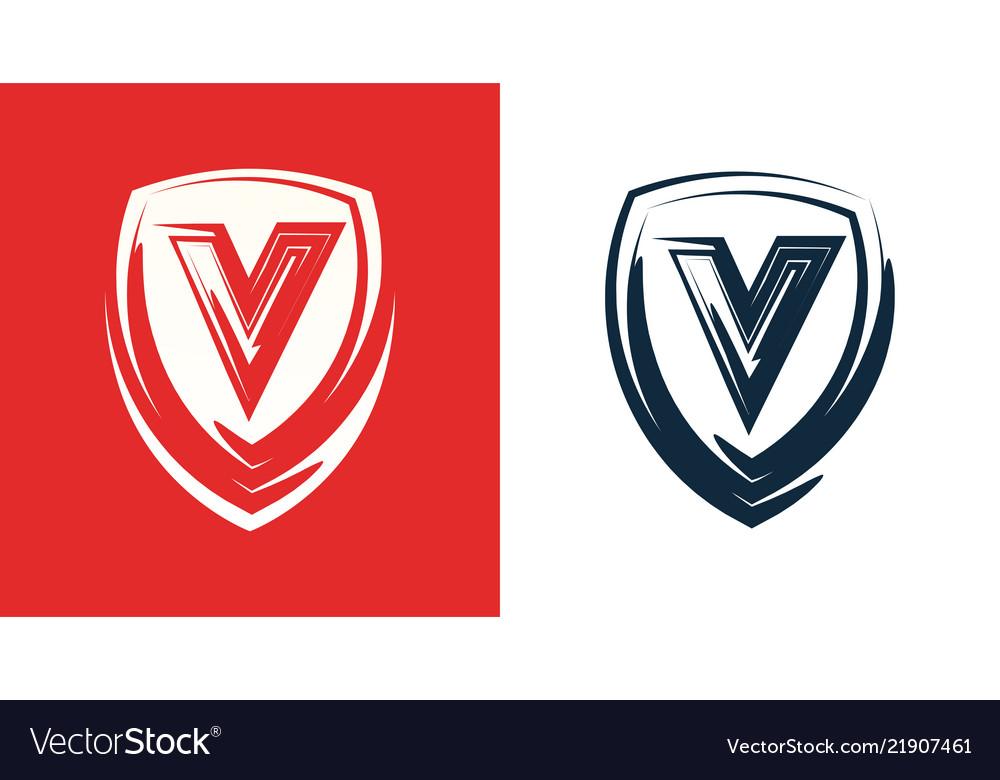 Heraldic shield emblem with letter v - clipart for
