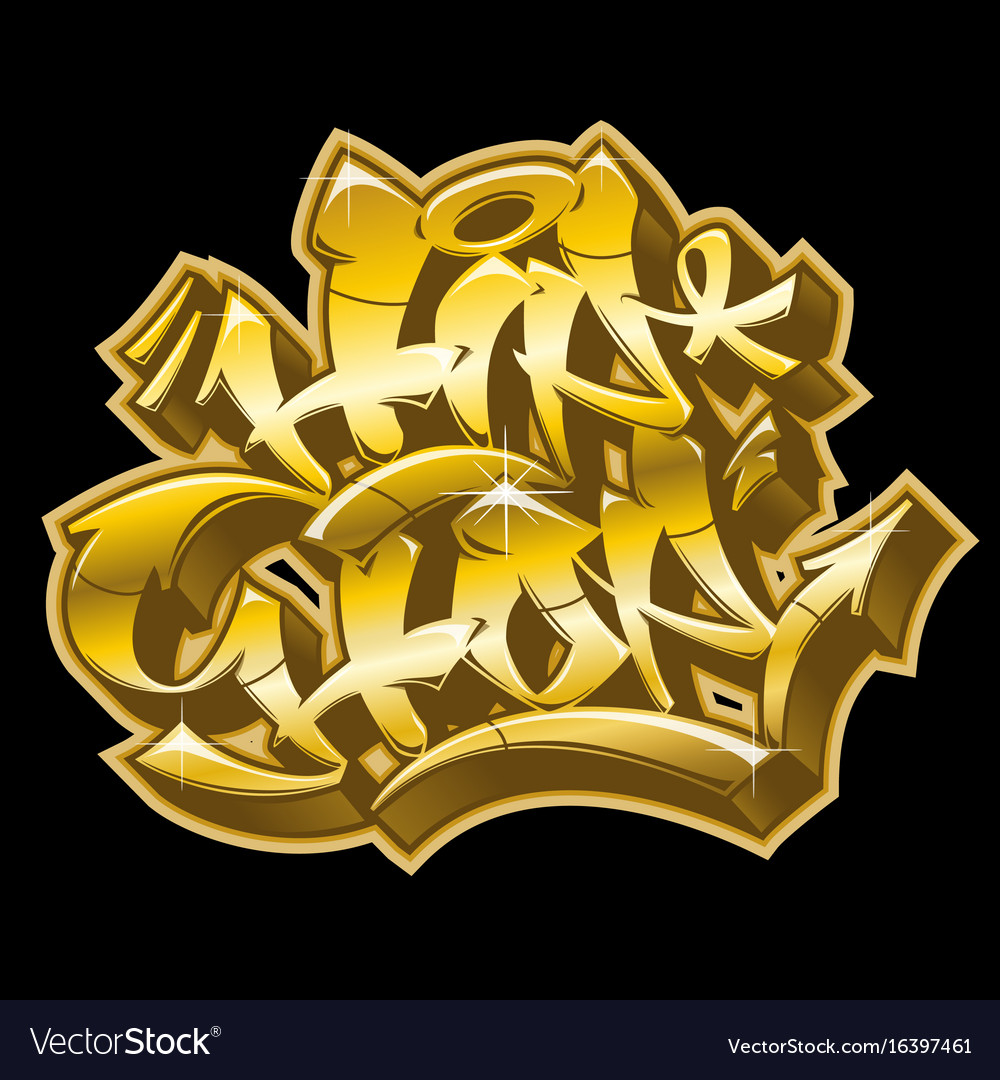 Hip-hop in golden graffiti funky style