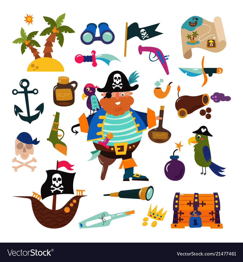 Pirate piratic character buccaneer man in