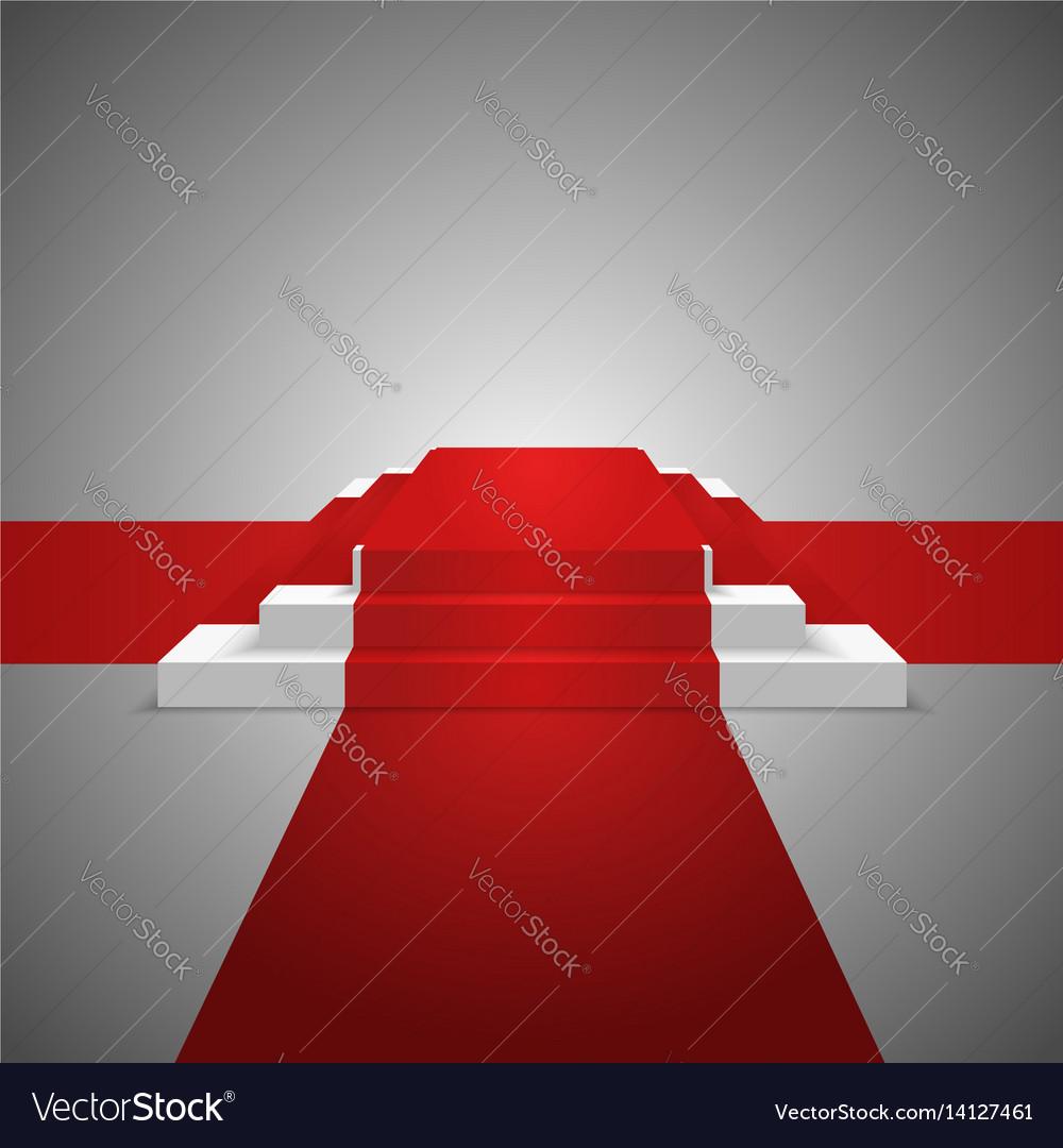 podium design element red carpet background vector image