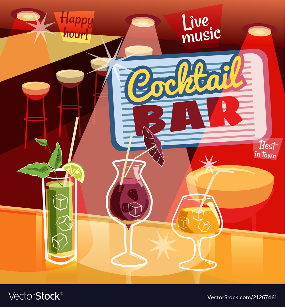 Retro poster design for cocktailbar vintage vector image on VectorStock