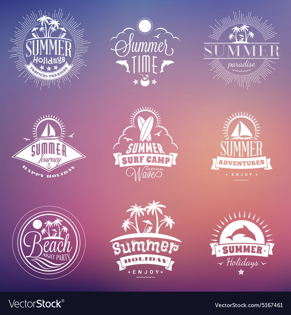 Set of Retro Summer Holidays Vintage Labels or