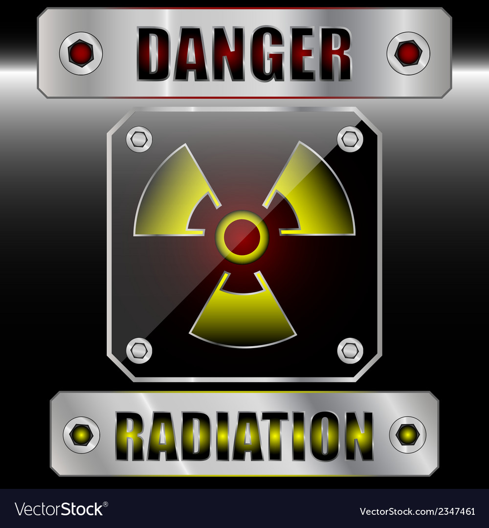 Set symbols radioactive danger