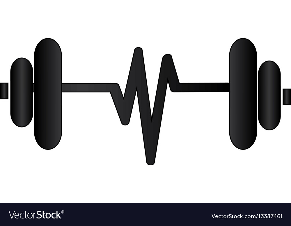 Silhouette Dumbbell With Symbol Life Royalty Free Vector
