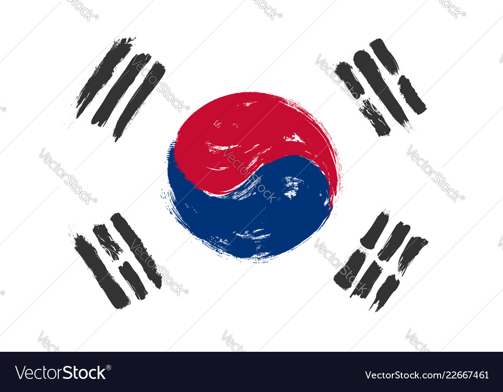 South korea flag with grunge watercolor painting