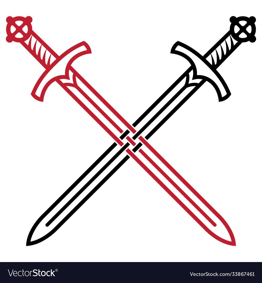 Viking design sword two crossed medieval