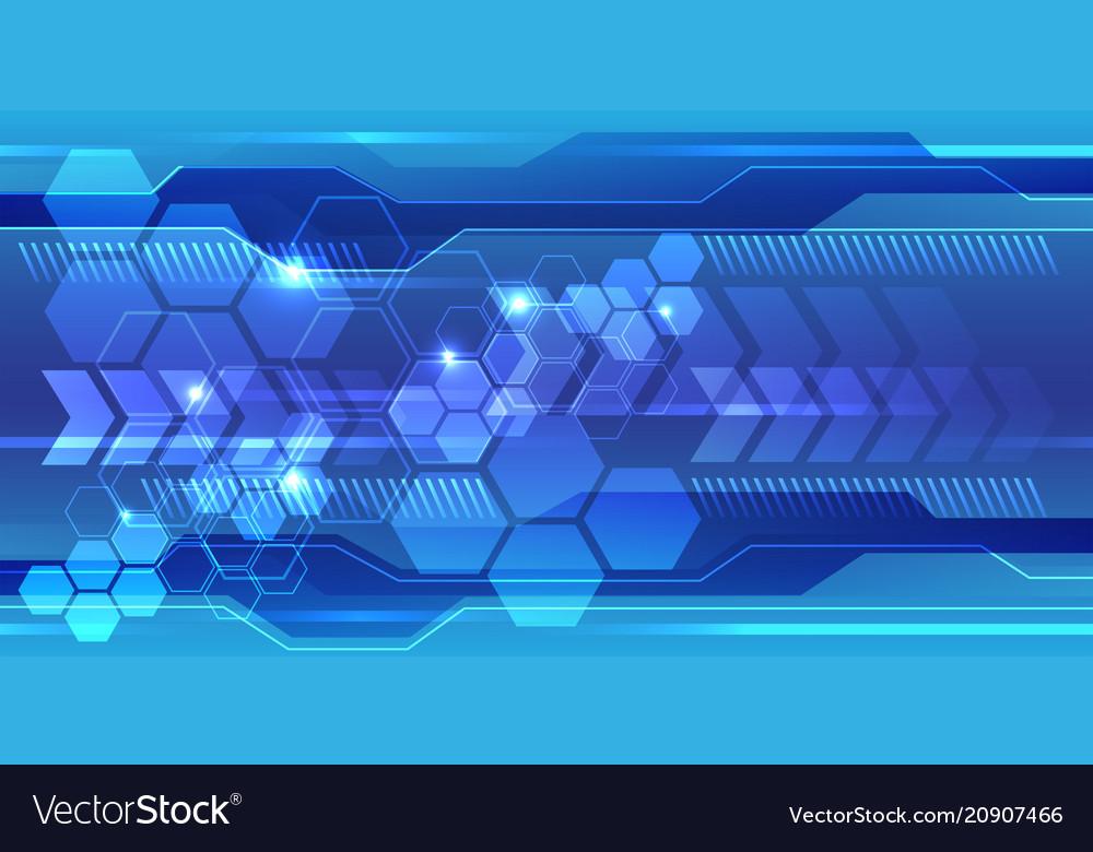 Abstract blue hexagon polygon line light techno
