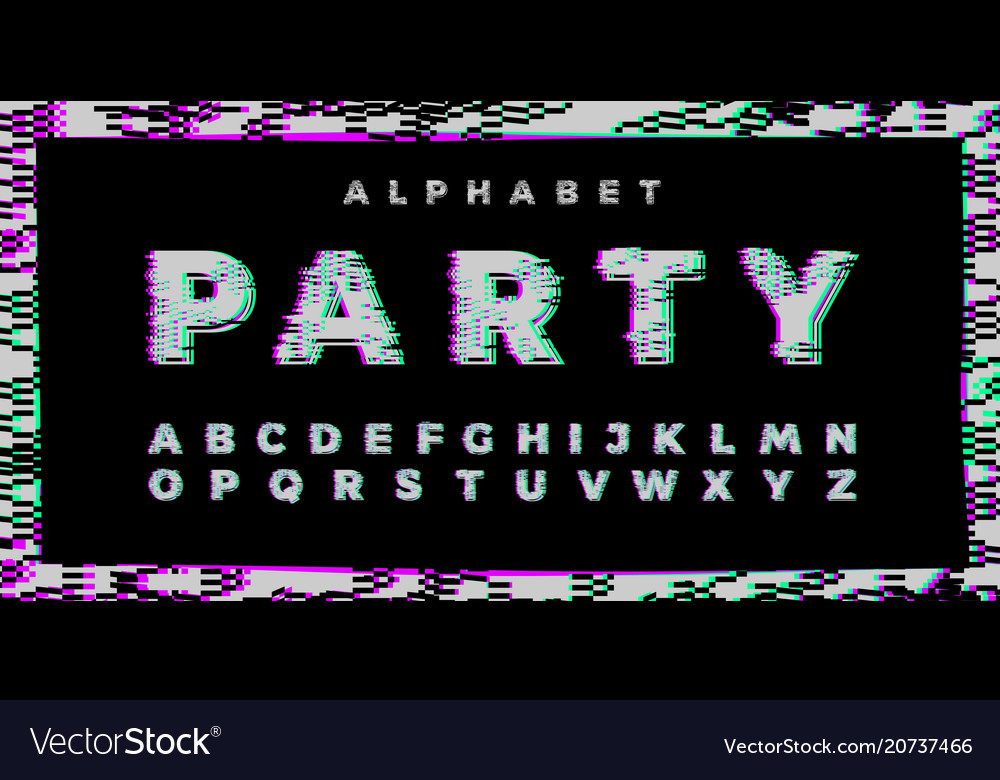 Abstract distorted glitch colorful font trendy
