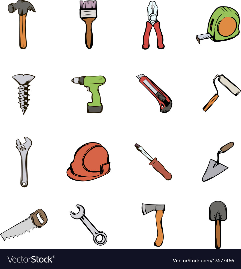 Building icons set cartoon