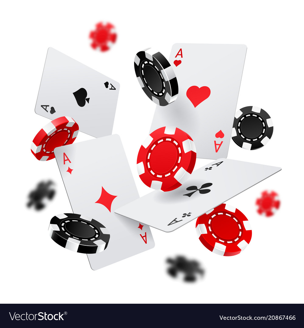 Casino banner with poker chips and cards vector image