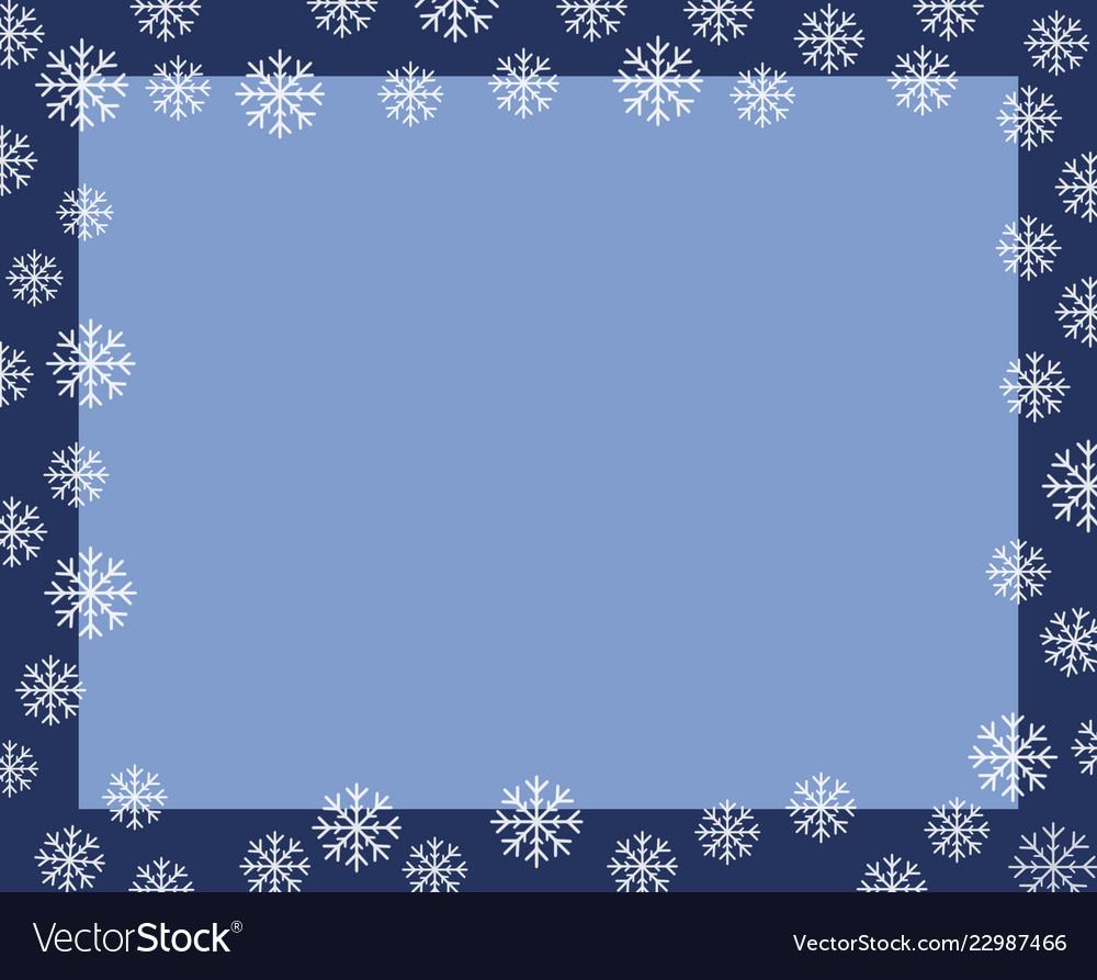 christmas border dark blue frame covered by white vector image