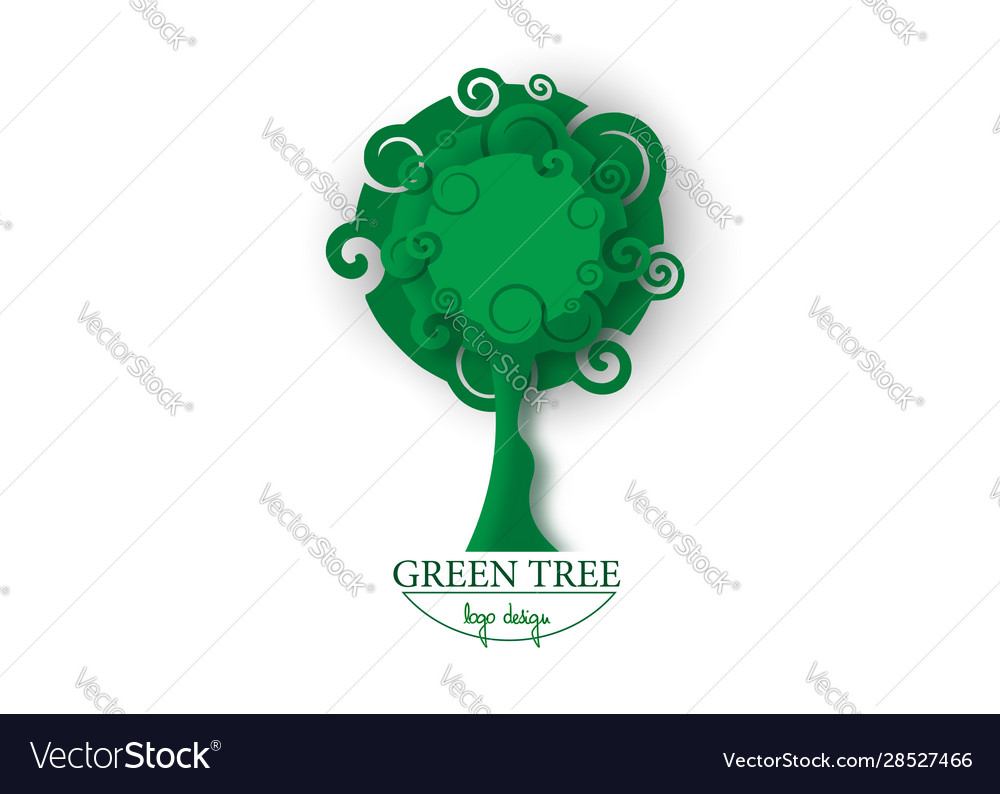 Green tree in paper cut style tree nature logo