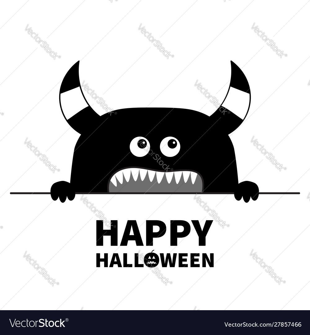 Happy halloween monster scary face head icon